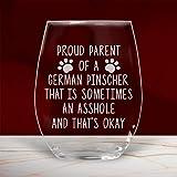 Divertido vaso de vino alemán Pinscher Gifts sin tallo, para perro, mamá, papá, propietario, amante de mamá, 325 ml