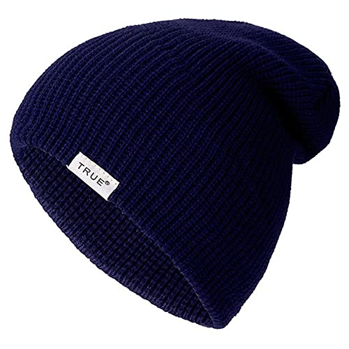 UKKO Chapeau Femme Hiver Bonnets Occasionnels pour Hommes Femmes Girl Goy Fashion Chapeau d'hiver Solide Hip-Hop Squullies Chapeau Unisexe Cap-Dark Blue