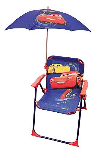 Fun House Cars Chaise Pliante avec Parasol pour Enfant, Acier, Bleu, 38x8x50 cm