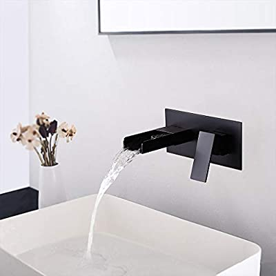 BULUXE Wall Mounted Waterfall Bathroom Sink Faucet, 2-Hole Single Handle Bathroom Sink Faucets, Use for Vessel or Basin Sinks, Premium Matte Black Finish Faucet in Modern Design