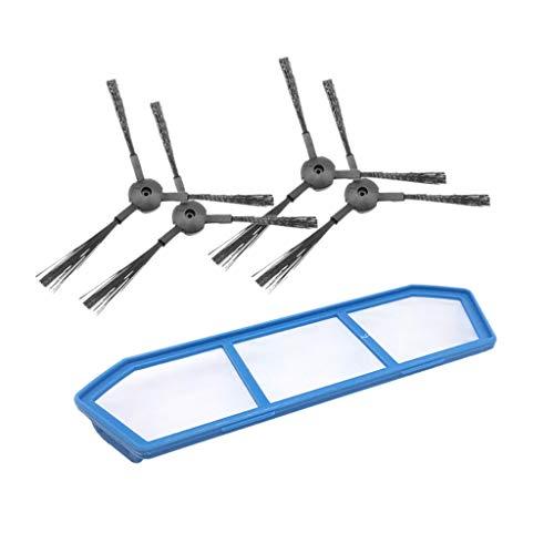 SMILEQ Accesorios de reemplazo del Cepillo Lateral del Filtro para la barredora de Robot Ilife A4 A4S A6 (Negra)