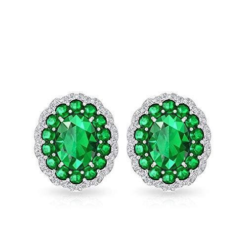 Pendientes con halo de piedra de moissanita de 3,98 quilates de color verde, certificado por IDCL Moissanita, para dama de honor, ideal para regalo de aniversario de boda, 18K Oro blanco, Par