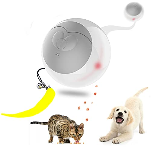 Interactive Cat Toy for Indoor Cats,Automatic Dog Treat Ball, Adjustable Treat Dispensing Pet Toys,Intelligent Obstacle Avoidance 360 Degree ,USB Charging ,for Cats/Kitten/Puppy