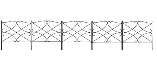 Amagabeli 60CM X 300CM Palizzata in Metallo Recinzione Giardino 5 Recinti Pannelli da 60 x 60cm Design bello robusto e affidabile resistente staccionata esterne in Acciaio Nero