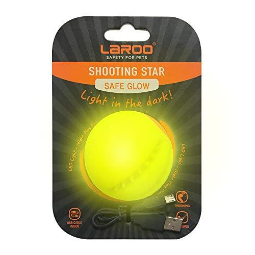 LaRoo Ball für Hunde, Hundespielzeug Ball Silikon Leuchtendes LED Hundeball mit USB Wiederaufladbarem Glühen in der Dunkelheit Hund Ball Zähne Reiniger Training Kugel für Hunde Spielen (Gelb)
