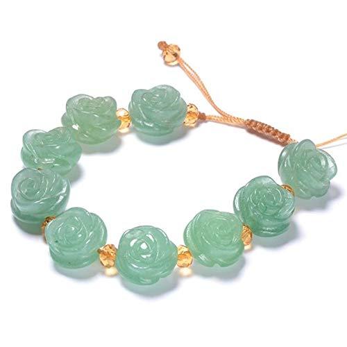 LXMYLI Charm Braclet, Natural Dongling Green Rose Jade Bracelet Green Jade Bangle Charm Jewlery (length16-26cm)