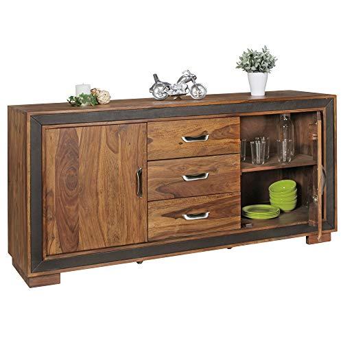 Wohnling Design Sideboard Karan Sheesham massief hout met kunstleer 160x44x80 cm | dressoir in rustieke landhuisstijl | commode met schuifladen en deuren
