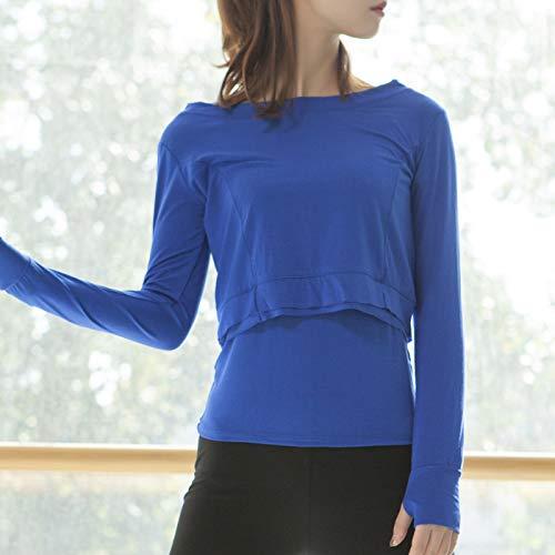 Fesjoy Conjunto de camisola para mujer, 2 piezas, suave, modal, tirantes finos, agujeros para los pulgares, manga larga, yoga, dancing y running.