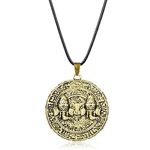 YUNMENG Spiel Uncharted The Lost Legacy Halskette Antike Münze Metall Anhänger Mode Seil Kette Halsketten Charme Geschenke für Männer Frauen