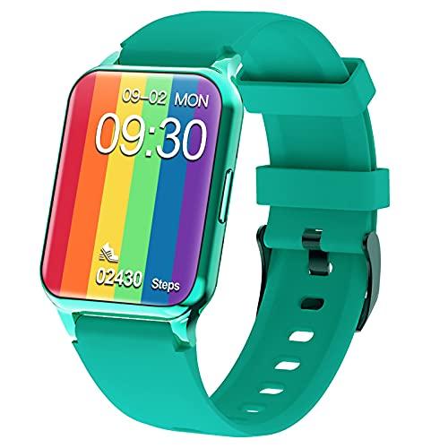 QFSLR Smartwatch Reloj Inteligente Hombre Mujer con Monitor De Frecuencia Cardíaca Seguimiento del Sueño Podómetro para iOS Android,Azul