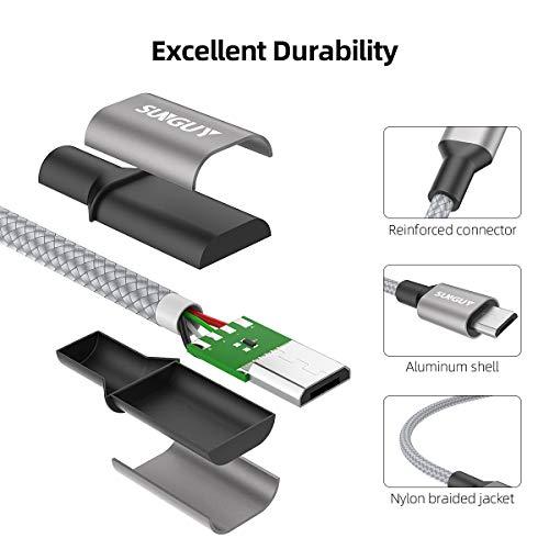 SUNGUY Micro USB Kabel [0.5M 3Stück] Nylon USB 2.0 Handy Datenkabel und USB Ladekabel Schnellladekabel für Samsung Galaxy S6 S7 Edge, Note 5, HTC, LG, Motorola und mehr