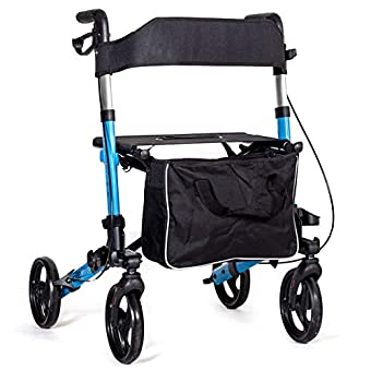 Canvas Seat and backrest. Height adjustable handles with ergonomic grips. Dual action brakes for slowing down and locking on. Cane holder. Stepper tube to help get up curbs or small steps. Puncture-proof solid tyres. Height adjustable handles: 80cm/3...