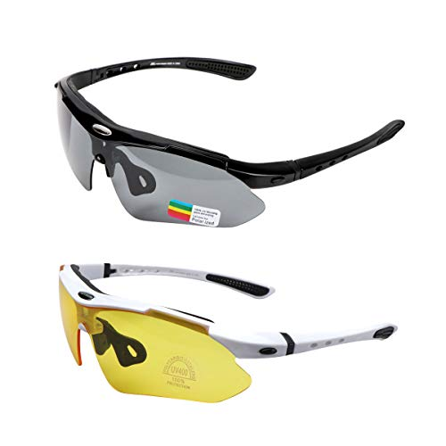 KASIVOUK 2 pares de gafas deportivas para bicicleta, unisex, polarizadas, protección UV400, con 5 lentes de recambio, para deportes al aire libre, ciclismo, motocicleta, correr, pesca, golf