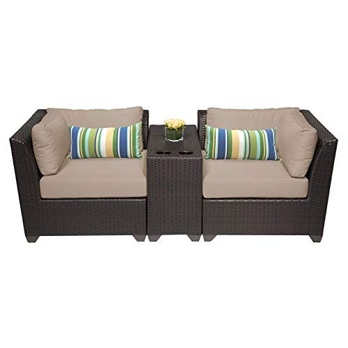 TK Classics 3 Piece Barbados-03B Outdoor Wicker Patio Furniture Set, Wheat