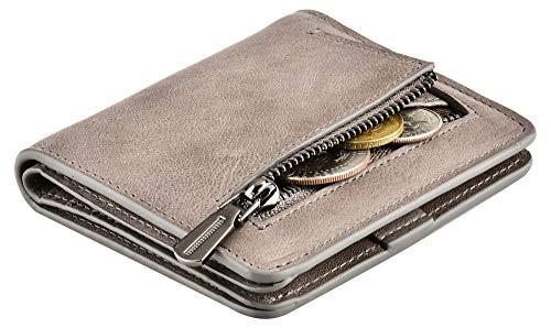 Monedero de piel auténtica, cartera pequeña para tarjetas y monedero, para mujer