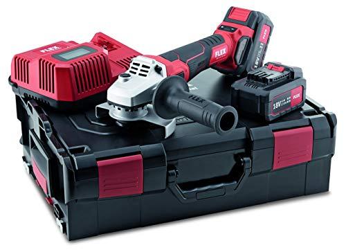 Flex Akku Winkelschleifer LBE 125 18.0-EC/5.0 Set (18 V, inkl. 2 Akkus 5,0 Ah, Trennschleifer mit Koffer + Zubehör, bürstenloser Motor, Schutzhaube verstellbar) 499323