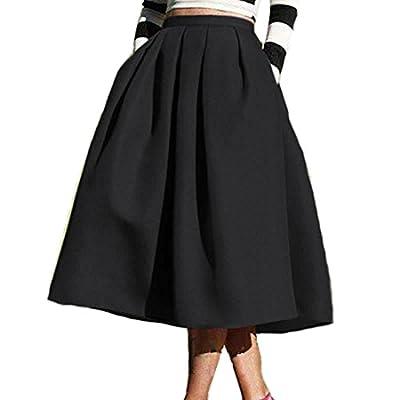 Shilanmei Womens High Waisted A Line Street Skirt Skater Pleated Full Midi Skirt