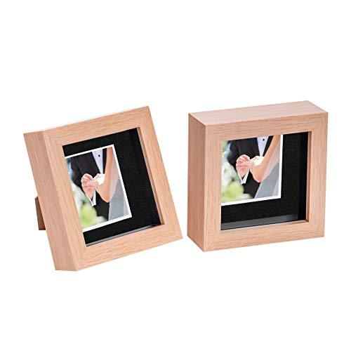 Nicola Spring 2 Stück 4 x 4 3D Shadow Box Photo Frame Set - Craft Anzeigen Bilderrahmen mit 2 x 2 Montieren - Glas Aperture - Hellen Holz/Schwarz