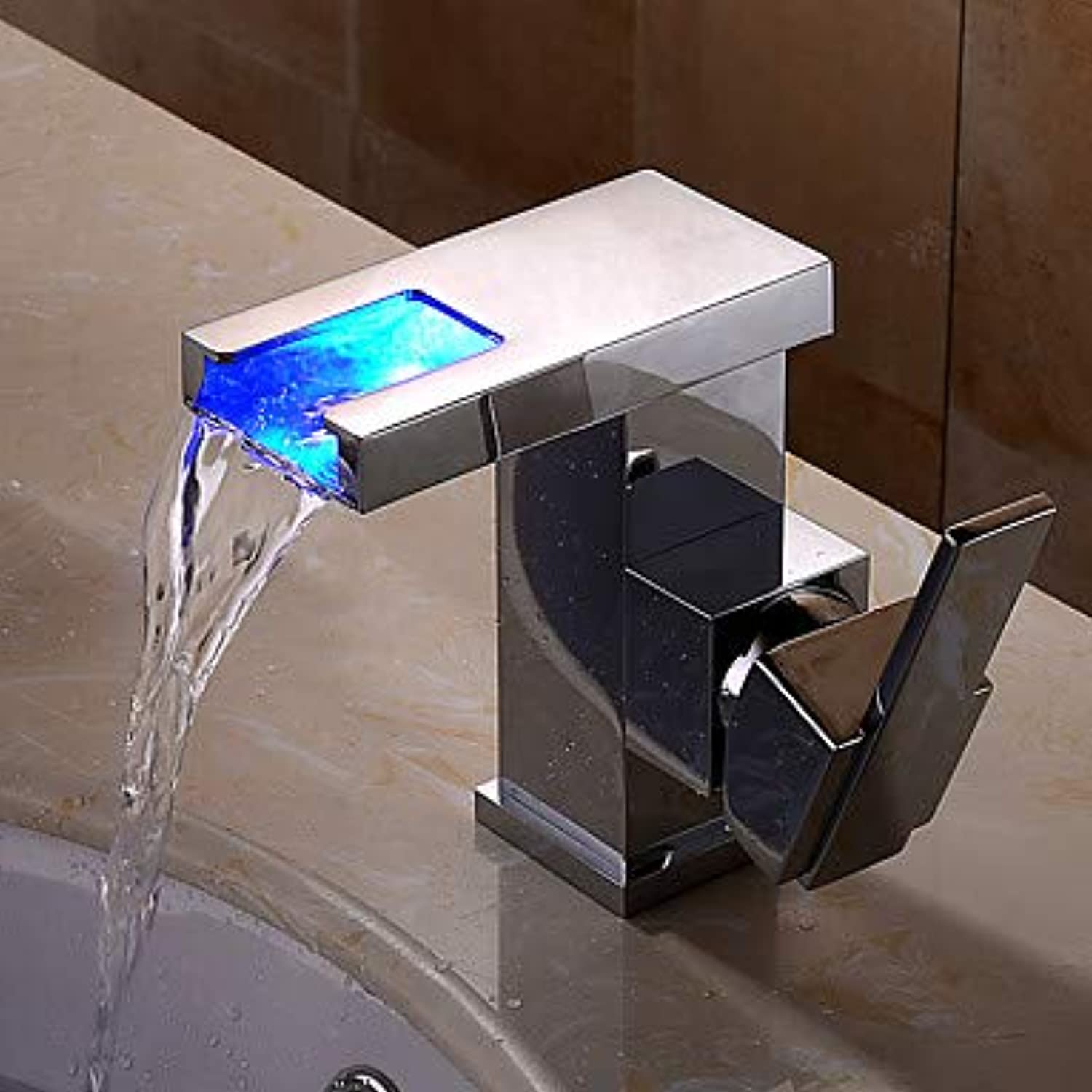 Bathroom Sink Faucet - Waterfall Widespread   New Design Chrome Wall Mounted Single Handle One Hole