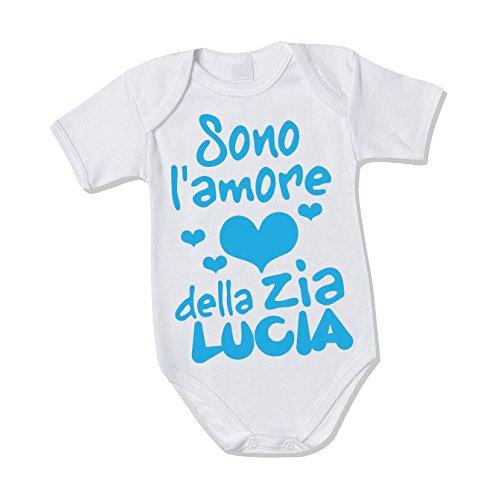 Body Neonato Bodino Bimbo'Personalizzato Con Nome Amore Della Zia'