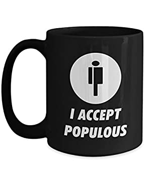 Official I Accept Populous Cryptocurrency Big Mug Acrylic Coffee Holder Black 15oz Crypto Miner Blockchain Invest Trade Buy Sell Hold PPT
