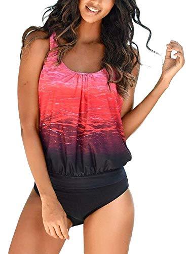 Yidarton Damen Tankini Bauchweg Bedruckter Badeanzug Zweiteiler Bikini Sets Push Up Swimsuit Gepolsterte Bademode Beachwear (1-Rot, L=(EU,38-40))