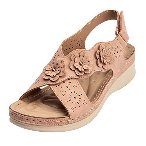 MoneRffi Sandalias Mujer Verano Cuña Sandalias Casuales Zapatos Vintage Flor Correa Cruzada Chanclas de Puntera Abierta(B#Rosa,40.5 EU)