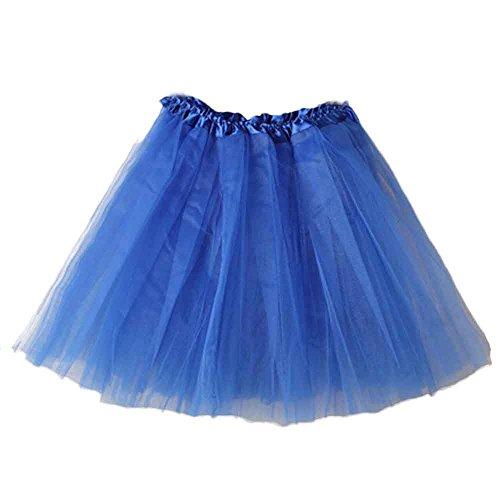 VEMOW Elegante Damen Tutu Petticoat Womens Karneval Short Rock Plissee Gaze Kurzen Rock Erwachsene Tutu Tanzen Rock für Rockabilly Kleid(Y1-Blau, Einheitsgröße)