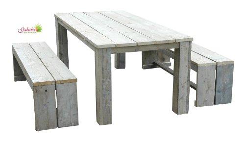 Gahalia Bauholz Möbel Set 3tlg. Tisch 240x100cm und 2x Bank 240x40x46cm