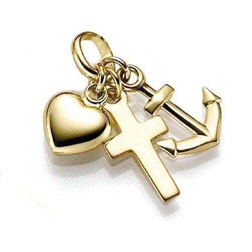 HausderHerzen.de Anhänger 333 Gold Glaube-Liebe-Hoffnung Herz - Kreuz - Anker