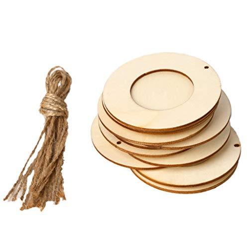 MB-LANHUA 10 Piezas/Set Decoración para el hogar Mini Marco de Madera Redondo para Colgar Manualidades DIY Hecho a Mano con Cuerdas Adorno para la decoración del hogar