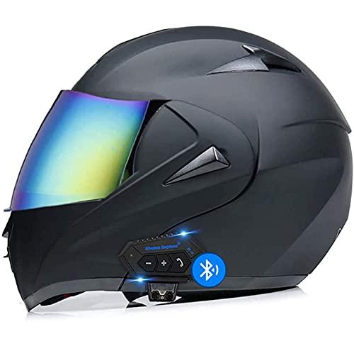 Sebasty Casco de Moto Modular Bluetooth ECE/Dot Homologado Casco de Moto Integral Scooter para Mujer Hombre Adultos con Doble Visera Cascos de Motocicleta Motocross 7,M
