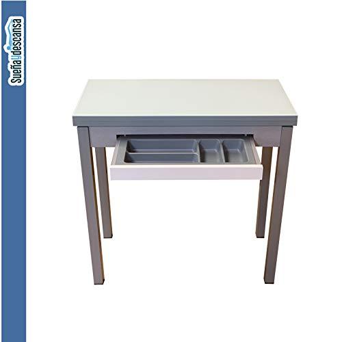 Suena y Descansa Mesa Libro Tapa de Cristal Color Blanco 90 x 50 cm Extensible 90x 100 cm