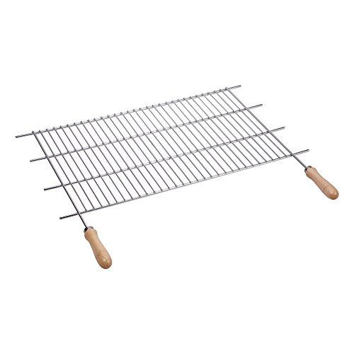 Sauvic 02465 - Parrilla barbacoa zincada con mangos de madera, dimensiones aproximadas: 60 x 40 cm