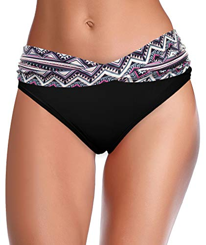 SHEKINI Mujer Bañador Sexy Bañador de Media Altura Cintura Plisada Pantalones de Playa (XXL, Negro Textura)