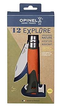 OPINEL - N°12 Explore Orange - Nature et survie - Couteau Multifonction de Poche Sifflet, Crochet & Allume-Feu Intégrés - Lame Inox 10 cm - Manche en Polymère Waterproof - Orange