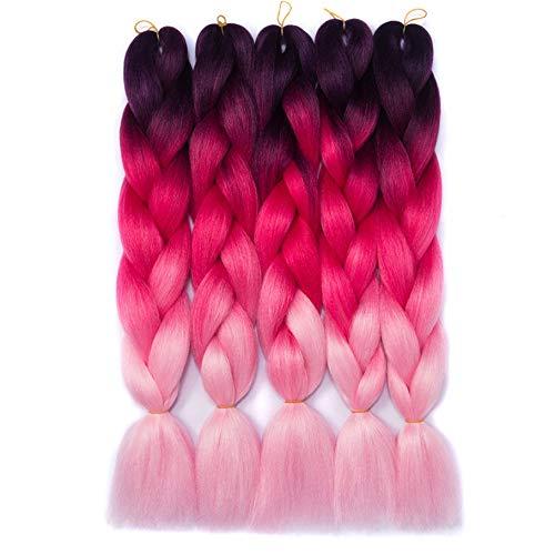 (6 Packs, 24 ') Jumbo Braid Braiding Hair X-pression Extensions de cheveux Afro Box Braids Crochet Hair Synthetic Fiber Hair 100g / pack