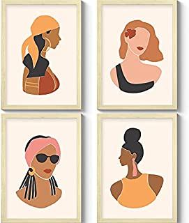 GS DECOR Set of 4 Silhouette Women Face Wall Art With Plexi Glass 12 9 Inches | Aesthetic Pictures Wall Frames For Room De...