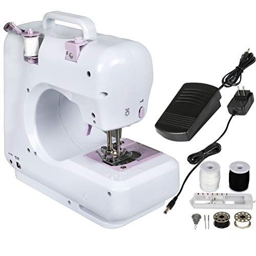 Portable 12 Built-in Stitches Sewing Machine 2 Speeds Double Thread LED Light Thread Cutter and Foot Pedal Included for Adult Beginners Electric Household Free Arm