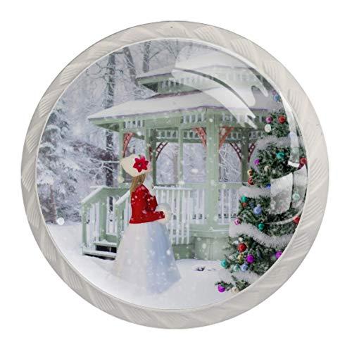 4 tiradores de cocina para armarios de cocina, cajones, tiradores con tornillos para cocina, aparador, armario, baño, armario, árbol de Navidad, nieve