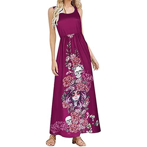 Vestidos de Halloween para mujer, elegante, sin mangas, vestido largo envolvente, vestido de noche, vestido maxi sin mangas, vestido de baile oscilante, rojo, XL