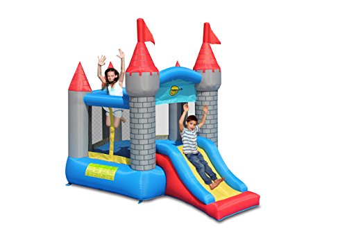 Happy Hop Pentagon Kids Bouncy Castle with Slide 60 Second Inflate Everything in 1 Box