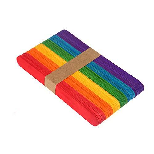 Farbiges Eis am Stiel, farbige Stieleisstiele für Handwerk, Schule, Unterricht, künstlerische Kreation (50 Stück)