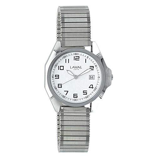 Jouailla 755137HBL - Orologio da uomo impermeabile con cassa in metallo, quadrante bianco, data 3h, cinturino in metallo estensibile