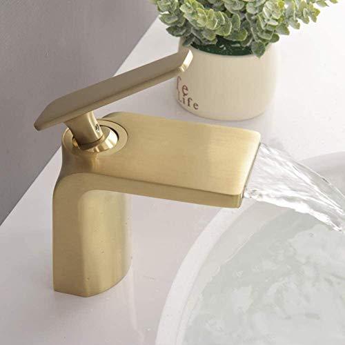 Grifo Cascada del lavabo del baño del baño, el mezclador del lavabo grifo del mezclador de la palanca de una sola palanca para el aseo del lavabo del lavabo del lavabo grifo, cuenca de la palanca de u