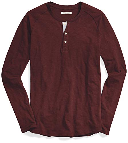 Marchio Amazon - Goodthreads Long-Sleeve Lightweight Slub Henley Camisa, Uomo, Viola (Burgundy), S