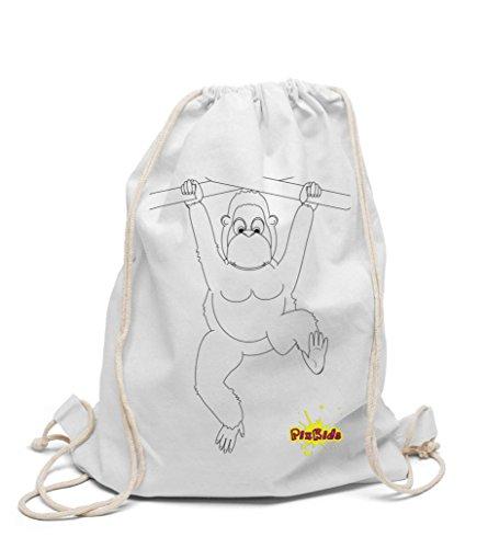 Turnbeutel zum selbst gestalten Kinderrucksack AFFE zum bemalen und ausmalen für Kindergarten Hort für Mädchen und Jungen