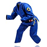 Gold BJJ Jiu Jitsu Gi - Ultra Strong Gold Weave Premium Kimono - IBJJF Competition Approved Uniform (Blue, A3L)