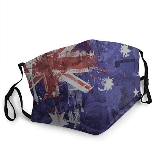 Mouth Scarf Elastic Band Australische Flagge Unisex Sonnencreme Atmungsaktiver, Langlebiger, Wiederverwendbarer Reise-Gesichtsschutz Muster Radfahrender Gesichtsschal Winddichter,