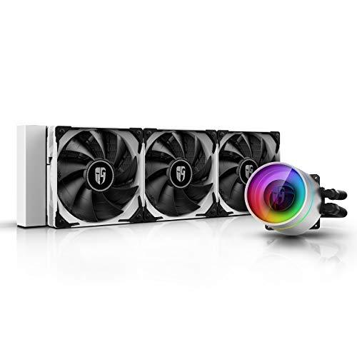 DEEP COOL Castle 360EX Blanco, Refrigeración Líquida CPU, Tecnología Anti-Fugas,Controlador de Cable y/o Control de Placa Base con Add-RGB Header de 5V-3Pin,Garantía de 3 años